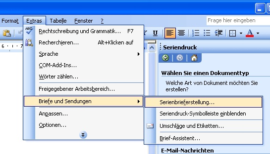 Briefe Und Sendungen Word 2010 : Mail merge toolkit der erste start serienbriefe